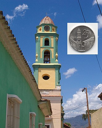 Plaza Mayor, Trinidad, Cuba - The 25 centavo convertible peso piece features a view of the bell tower of the Iglesia y Convento de San Francisco.
