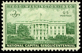 File:3-cent White House 1950 U.S. stamp.tiff