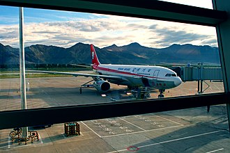 """Sichuan Airlines - The Sichuan Airlines Airbus A330 painted by """"Wuliangye"""" was docked at Lhasa Gonggar Airport (the aircraft also took the first flight to Vancouver, Melbourne)."""
