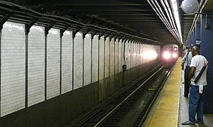 Court Street–Borough Hall (New York City Subway) - Image: 3 train arriving in Borough Hall station