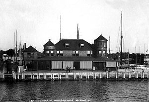 Atlantic Yacht Club - Clubhouse of the Atlantic Yacht Club at 55th Street in Bay Ridge, Brooklyn, as it appeared in the early 1890s. Photo by John S. Johnston.