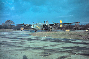 "RAF Halesworth - A B-24 Liberator (serial number 42-50437) nicknamed ""Apassionata"" of the 489th Bomb Group."