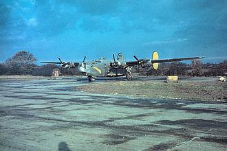 "RAF Halesworth - A B-24 Liberator (serial number 42-50437) nicknamed ""Apassionata"" of the 489th Bomb Group."