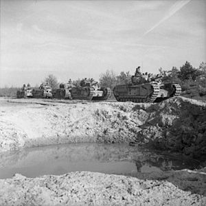 9th Royal Tank Regiment - Churchill tanks of 9 RTR during the advance towards Goch, Germany, 19 February 1945