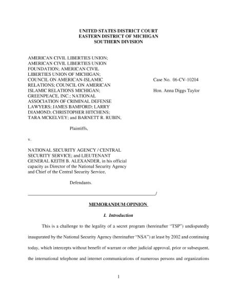 File:ACLU v. NSA Opinion (August 17, 2006), US District Court, East-Michigan.djvu