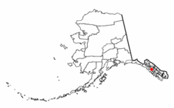 Location of Angoon, Alaska