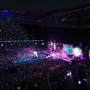 "A Sky Full of Stars - View of the stage at Wembley Stadium, as Coldplay perform ""A Sky Full of Stars"" during a concert on their A Head Full of Dreams Tour."