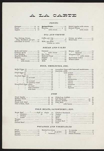 File:A LA CARTE MENU (held by) MONTEREY HOTEL (at) 38TH ST. & 6TH AVE. NY (HOTEL) (NYPL Hades-272751-4000008051).jpg