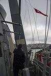A Turkish flag is raised aboard the guided missile destroyer USS Truxtun (DDG 103) as the ship transits the Bosphorus strait March 7, 2014 140307-N-EI510-164.jpg