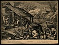A donkey carries wood while people shelter and eat near a fi Wellcome V0007614.jpg