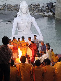 A havan ceremony on the banks of Ganges, Muni ki Reti, Rishikesh