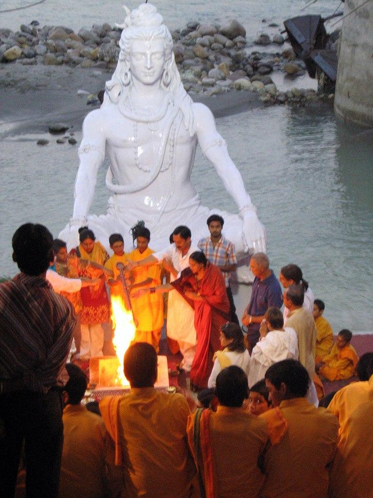 A havan ceremony on the banks of Ganges, Muni ki Reti, Rishikesh