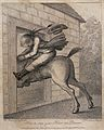 A horse has ridden through a doorway in an effort to stop, t Wellcome V0041015.jpg