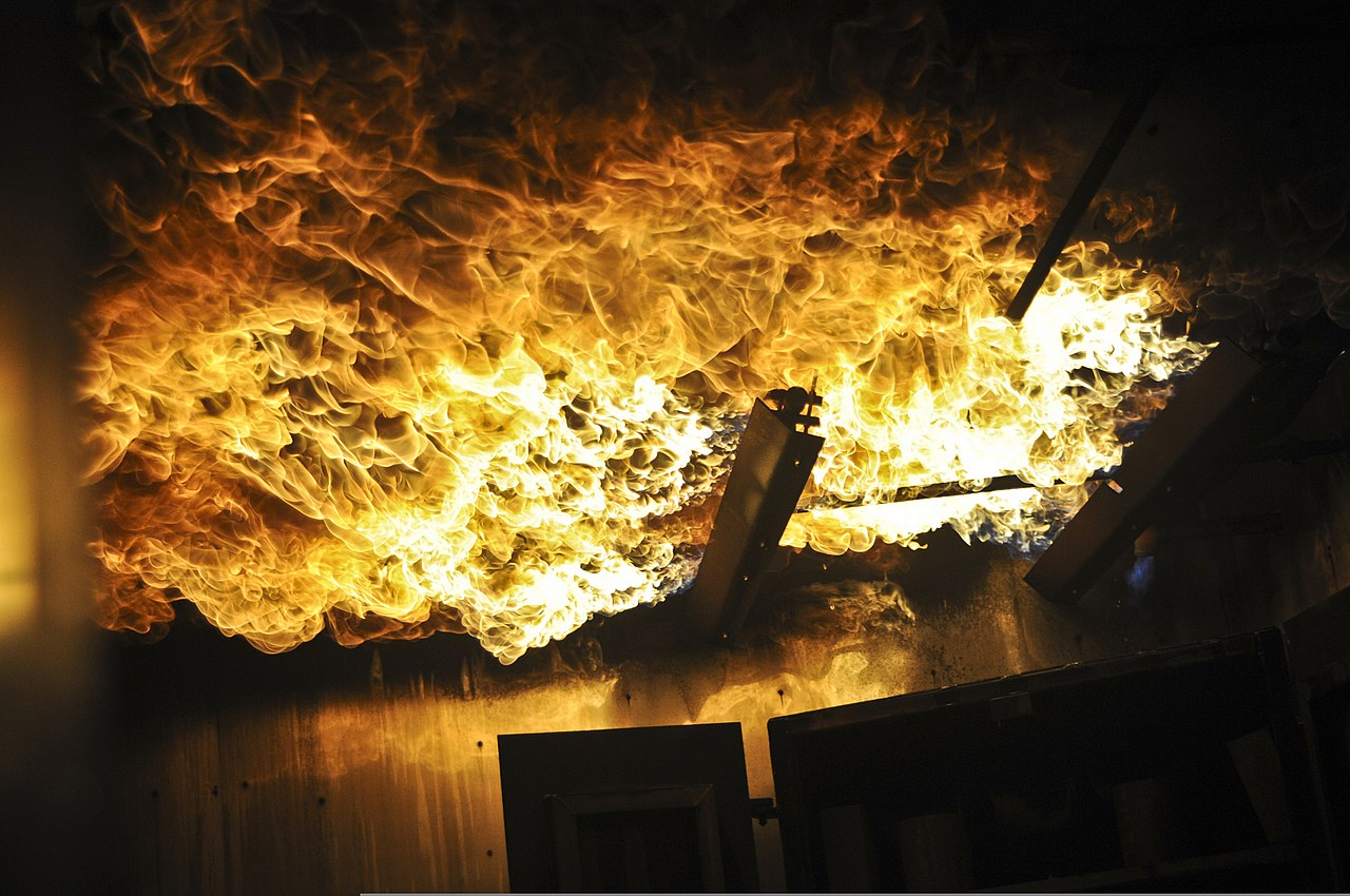 File A Propane Fire Plumes Along The Ceiling Of A Room