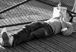 Books in France - Image: A reader on the Pont des Arts, 30 August 2009