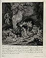 A stag is chased by three dogs into a torrential river durin Wellcome V0020986.jpg