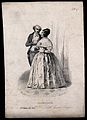 A woman in evening dress, attended by a man; the woman repre Wellcome V0009473EL.jpg
