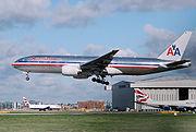 Boeing 777-223ER landing at London Heathrow Airport