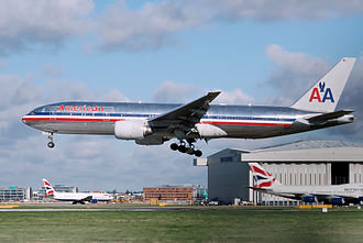 Mainline (aeronautics) - A mainline flight by an American Airlines Boeing 777-223ER lands at London Heathrow Airport, England