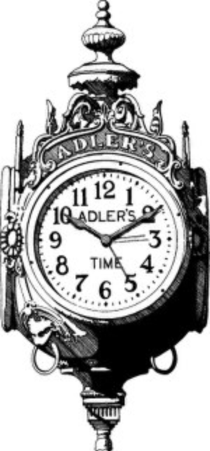 "Adler's Jewelry - ""Adler's Time"" signature clock, est. 1910"