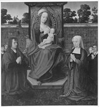 Adriaen Isenbrant - Madonna lactans with donors in a garden.jpg