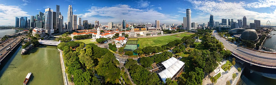 Aerial panorama of Singapore's Downtown Core