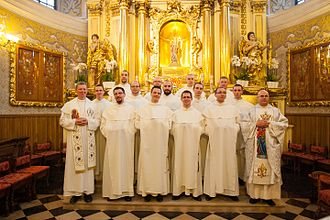Order of Saint Paul the First Hermit - The Pauline novices of the novitiate of 2014-15, with the Novice Master and his Socius, after being clothed in the habit of the Order.