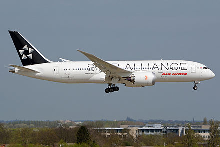 Air India joined the Star Alliance in 2014. Pictured is Air India Boeing 787 Dreamliner (VT-ANU) in special Star Alliance livery. Air India Boeing 787-8 on final into LHR.jpg