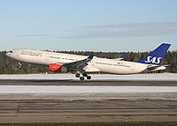 Scandinavian Airlines plane taking off