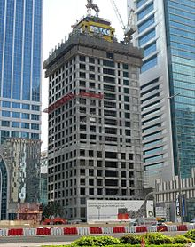 L'Al Yaqoub Tower en construction le 28 décembre 2007