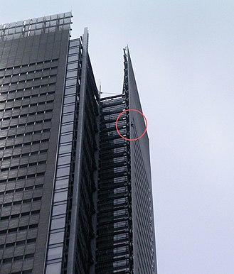 The New York Times Building - Alain Robert (circled, in red) climbing the New York Times building on June 5, 2008
