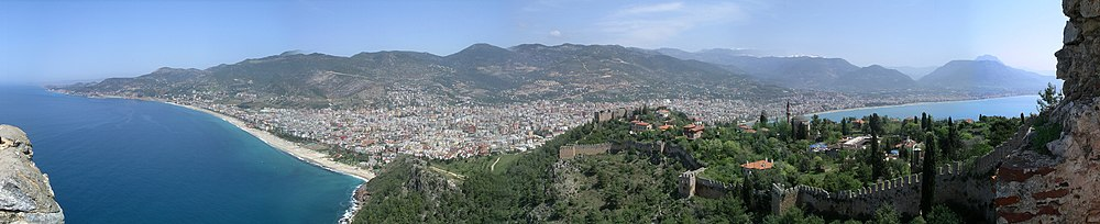 Panoramic view of Alanya, inhabited since the Hittites and the medieval homeport of the Seljuk naval forces, famous today for its natural beauty and historic monuments