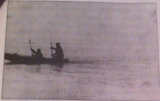 Alexander Konrad - Albanov and Konrad approaching Saint Foka in their kayak, minutes before their rescue