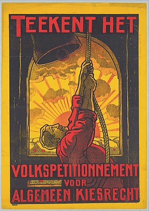 "Social Democratic Workers' Party (Netherlands) - A political poster of the SDAP by Albert Hahn. It reads: ""Sign the People's Petition for Universal Suffrage"""