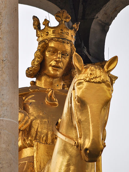 Replica of the Magdeburger Reiter, an equestrian monument traditionally regarded as a portrait of Otto I (Magdeburg, original c. 1240)