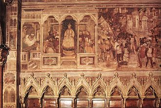 Battle of Clavijo - Image: Altichiero, scene della vita di san giacomo, basilica del santo, cappella di san felice, padova, 1376 circa