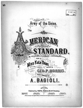 Antonio Bagioli - American Standard, a work composed by Bagioli, (George Morris, librettist) published in 1864