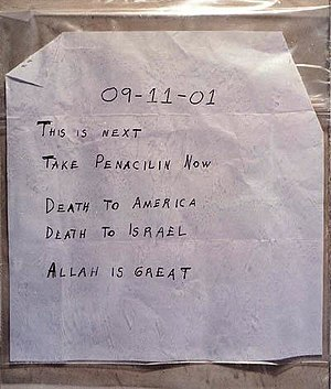 2001 anthrax attacks - The Tom Brokaw (NBC) note
