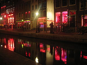 The red-light district in Amsterdam by night