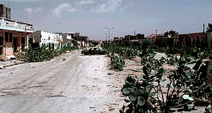 A long shot of an abandoned MOGADISHU Street k...