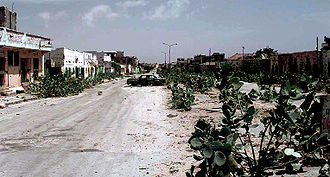 "Battle of Mogadishu (1993) - Abandoned ""Green Line"" dividing the warring factions in North and South Mogadishu (January 1993)"