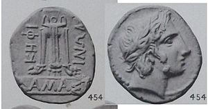 Damastion - Silver coin of Damastion, 4th century BC. Obv.:Apollo head, laureate. Rev.:Tripod, letters ΔΑΜΑΣΤΙΝΩΝ (of the Damastians) - ΚΗΦΙ.