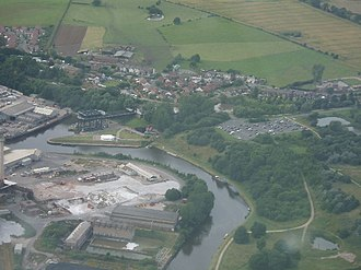 Anderton Boat Lift - Aerial view of Anderton Boat Lift and basin on the north bank of the River Weaver