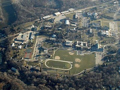 Aerial photograph of Andrews University, the flagship higher education center of the Adventist church Andrews University.jpg