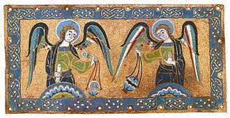 Limoges enamel - Panel with the figures in enamel and the gilded background vermiculated, 1170s.
