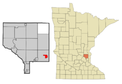 Location of the city of Centerville within Anoka County, Minnesota