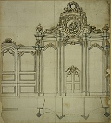 Design for a confessional and panelling in Rococo style