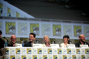 Ant-Man (film) - (L-R) Peyton Reed (director), Paul Rudd, Michael Douglas, Evangeline Lilly, and Corey Stoll at the 2014 San Diego Comic-Con