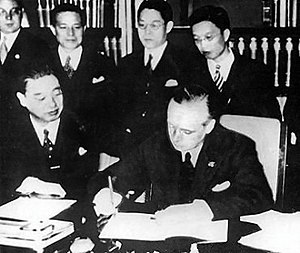 Anti-Comintern Pact - Japanese ambassador to Germany Kintomo Mushakoji and Foreign Minister of Germany Joachim von Ribbentrop, sign the Anti-Comintern Pact.