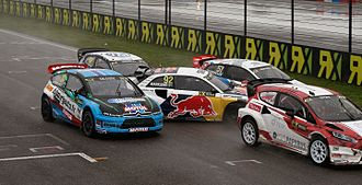 2015 World RX of Italy - Manfred Stohl, JB Dubourg, Anton Marklund, Toomas Heikkinen and Tord Linnerud battle off the start line
